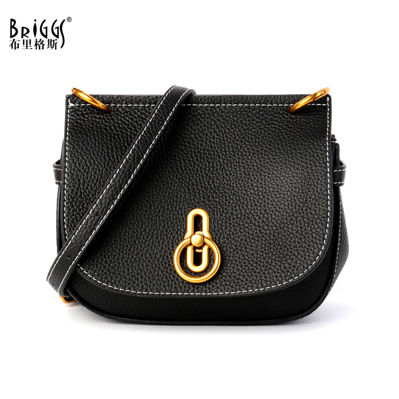 BRIGGS Luxury Designer Saddle Bags Genuine Leather Women Messenger Bag Litchi pattern Female Shoulder Bag Ladies Crossbody Bag цена