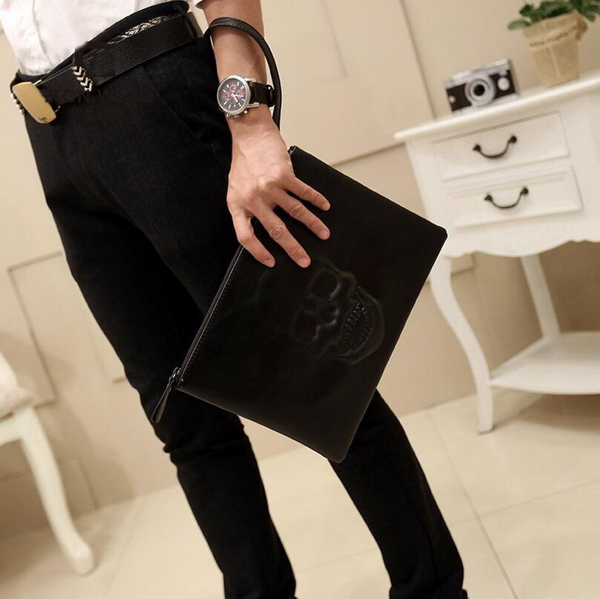 SIKOTE 2018 senior handbags skull fashion clutch Europe and the United States retro men bag hand bag envelope bag