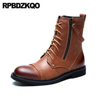 Full Grain Leather Ankle Retro Combat Boots 2018 Runway Fall Shoes Autumn Military Zipper Army European Men Brown Luxury Lace Up