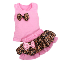 Fashion Baby Girls Boutique Leopard Sleeveless Short With Bow+100%Cotton Skirt Kid Clothing Sets  New 2015 Arrival Hot Sell