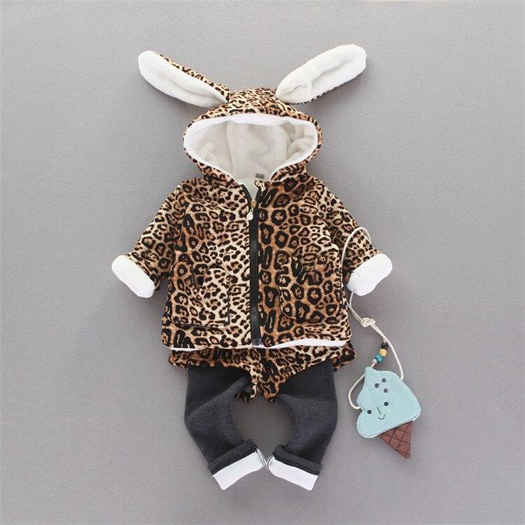 ФОТО new 2016 autumn winter children's coat+pant 2pcs baby girls sets Leopard infantil clothing suit velvet warm baby clothes outfits