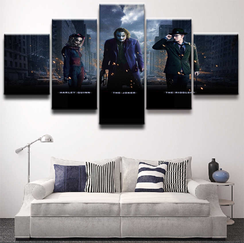 Canvas Pictures Living Room Wall Poster Frames Modular HD Print Decor 5 Panel Batman Harley Quinn Joker Riddler Painting