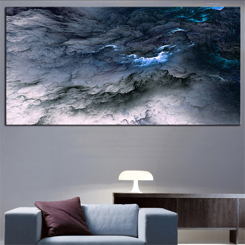 Large sizes wall art prints abstract oil painting wall for Blue wall art