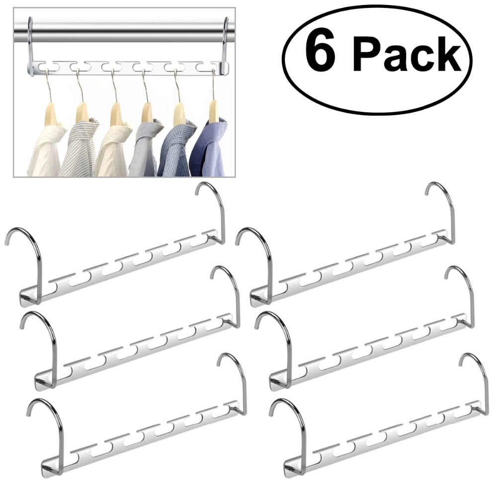 6pcs 3D Magic Clothes Hanger with Hook Space Saving Hanger Closet Organizer Wardrobe Closet Bar Clothes Coat Hanger Organizer