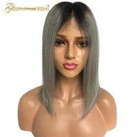 Короткий боб прямой парик человеческих волос 1B/серый Цвет бразильский волосы Glueless фронта шнурка натуральных волос с ребенком волос Бесплат