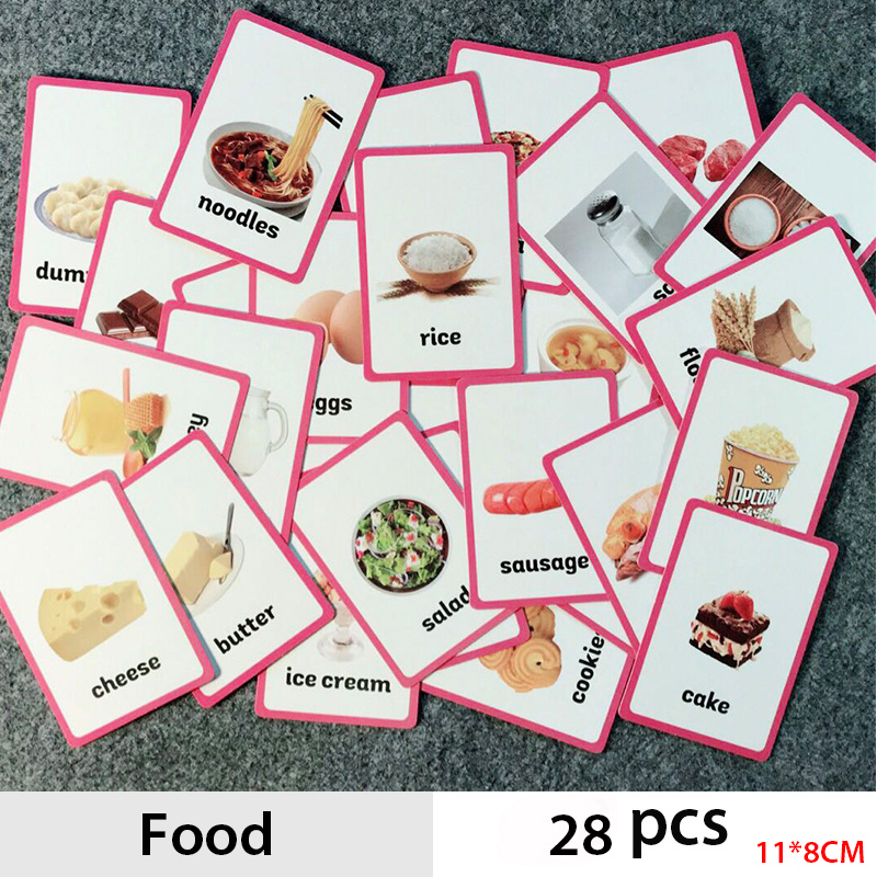 18 Pcs/Set Food Quantities English Word Flash Card Children Learning Card Early Educational Toys
