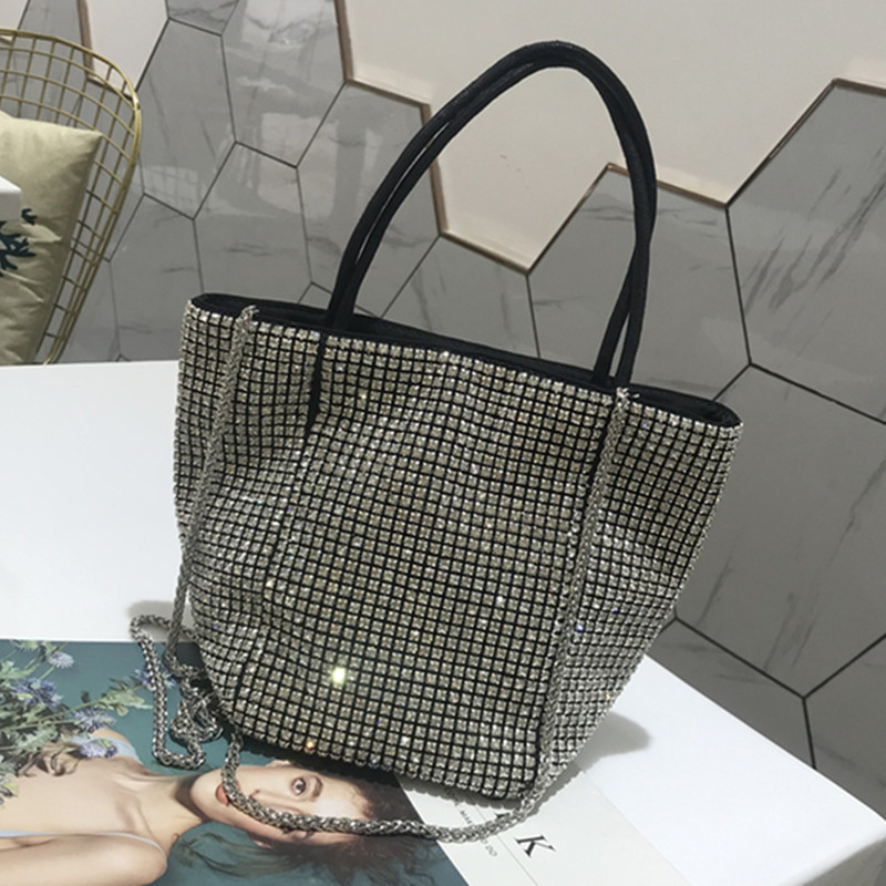 2019 New Rhinestone Bucket Bag Fashion Chain Shoulder Messenger Women Purse and Handbag Bat Bag2019 New Rhinestone Bucket Bag Fashion Chain Shoulder Messenger Women Purse and Handbag Bat Bag
