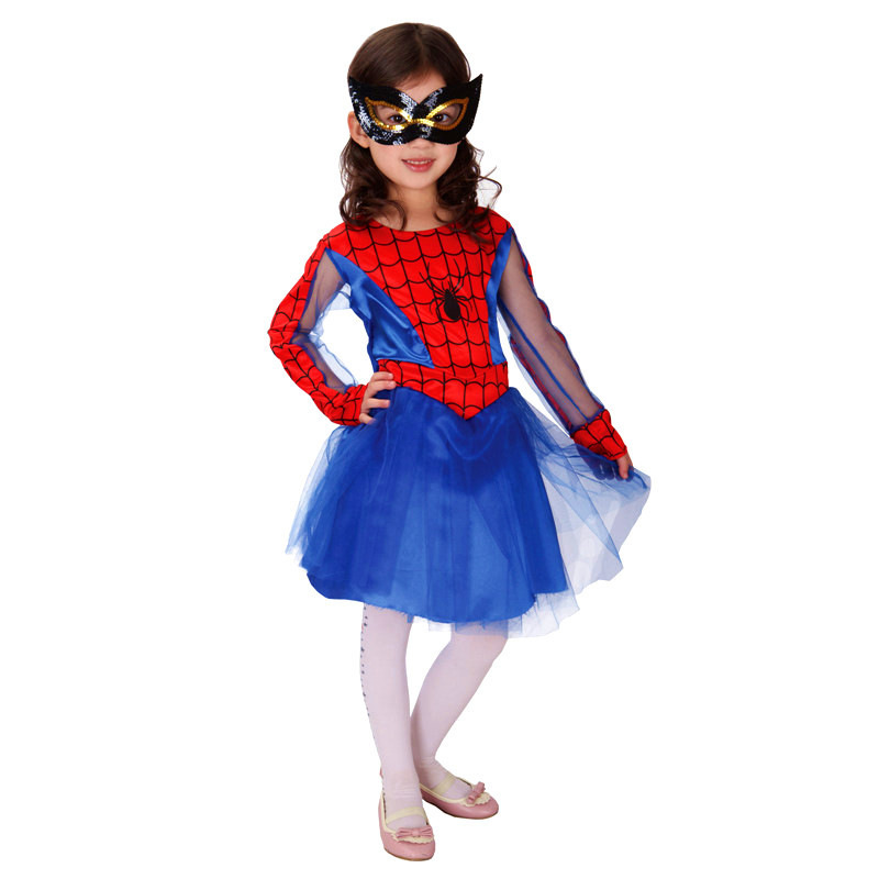 цена 2018 Spider Girl Costumes Children Spiderman Cosplay Super Hero Costume for Kids Purim Day New Year Purim Halloween Fancy Party онлайн в 2017 году