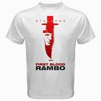 John Rambo First Blood Movie Sylvester Stallone Stallion Tshirt White Vintage