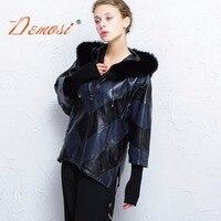 2017 18 Женщины натуральная куртка 100% натуральная дубленка свободные большие размеры рукав летучая мышь с капюшоном Осень зима с натуральным