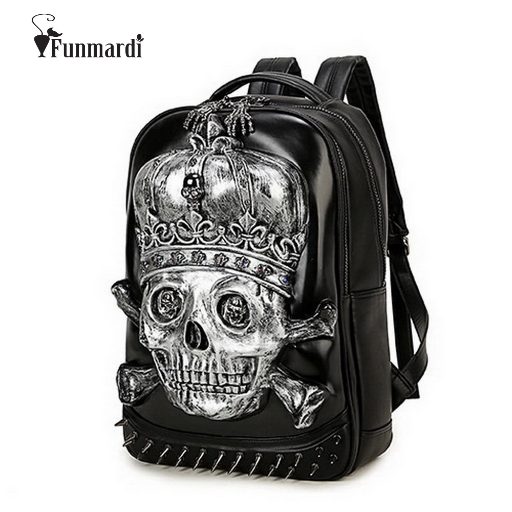 ФОТО New arrival cool 3D Skull design PU leather backpacks vintage Rock leather bags Rivet computer bags fashion Travel Bags WLHB1454