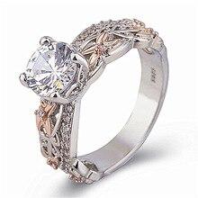 Luxury Female Crystal Zircon Ring Boho 14K Rose Gold Silver Big Gemstone Wedding Rings Bizuteria Women Valentines Day Gift