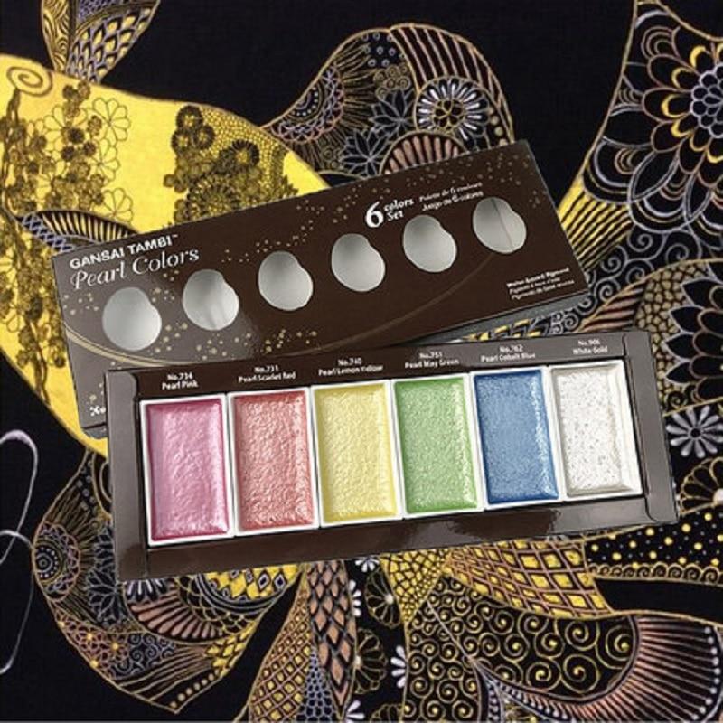 Купить с кэшбэком Kuretake Starry Colors Solid Paints Metallic Gold Watercolor Paints Pearl Color Star Color Paints