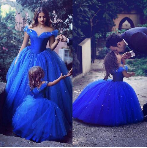New Royal Blue Cinderella Girls Dress Flower Girl Dresses for Wedding Tulle Beading Princess Children Party Ball Gown