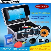 SY702 50m Fish Finder Underwater Camera 7″ DVR Function 1000TVL 12 White LED Fishing Camera Underwater Fish Finder system