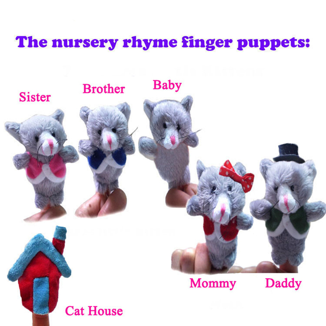 6pcs Finger Doll Plush Toys The Nursery Rhyme Puppets Cat Family Baby Interest In