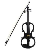 2 шт. irin 4/4 древесины клена Электрический Скрипки возиться с Ebony фитинги кабель наушников Чехол черный