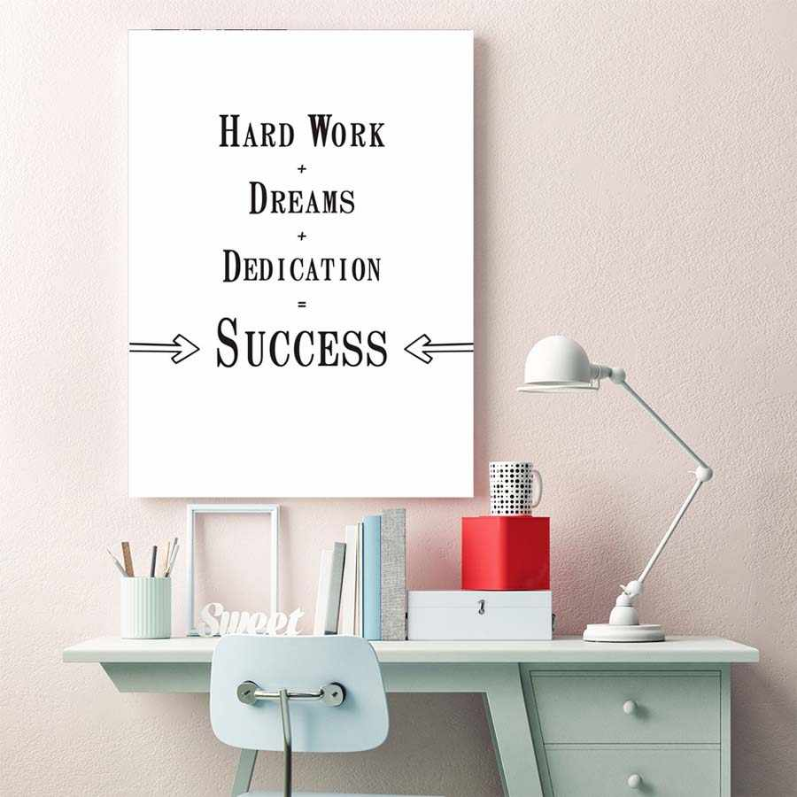 Motivational Quote Posters Prints Success Is Hard Work+Dream+Dedication Canvas Painting On The Wall Minimalist Inspiron Pictures