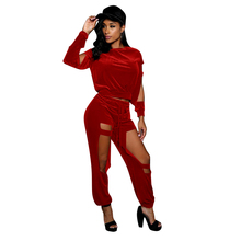 autumn and winter womens long jumpsuit fashion personality for hollow velvet Sexy nightclub party