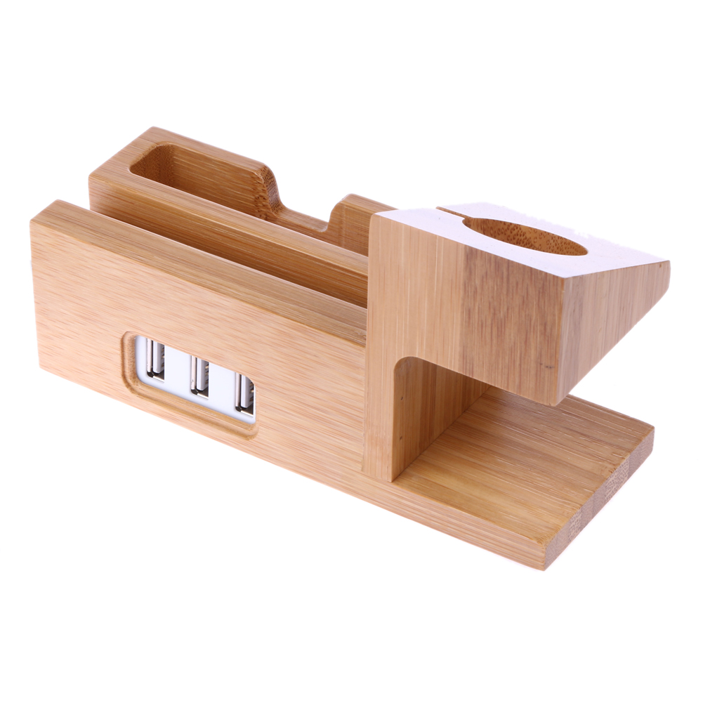 Real Bamboo Wood Desktop Stand for iPad Tablet Bracket Docking Holder Charger for iPhone Charging Dock
