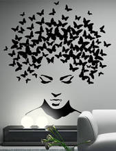 YOYOYU Art Home Decor Very Beauty Salon Girl With Butterfly Hair Wall Decal Vinyl Sticker Bedroom Living Room Decoration WW-526