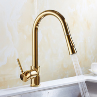 Brass kitchen faucet Nickel/gold/chrome/Black cold hot water tap kitchen sink faucet taps mixer with pull down kitchen mixer tap