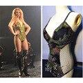 FRETE GRÁTIS Rainha Sexy 2016 Verão Nova Chegada Britney Spears Dia Do Exército Camuflagem Escavar Broca Vara Traje Bodysuits
