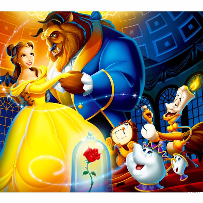 5D Diy Full Square Diamond Painting Mosaic Beauty And The Beast Rhinestone Paintings by number Cross Stitch Sticker ZP 500 in Diamond Painting Cross Stitch from Home Garden