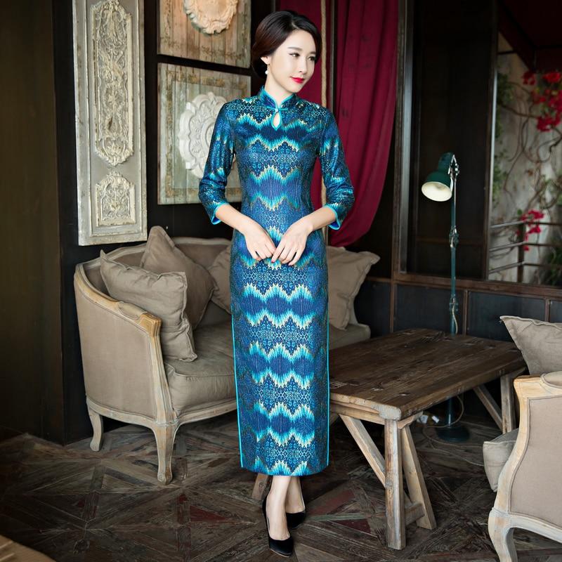 Nouveauté mode dentelle longue Cheongsam bleu chinois femmes robe élégante Qipao Vestidos taille S M L XL XXL XXXL 27644A