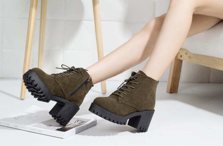 Lace-up thick ankle boots female 2018 Korean version of the new winter plus velvet warm British thin women's boots 5