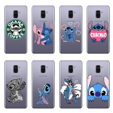 Cute funny Stitch Emoji Case For Coque Samsung Galaxy S6 S7 EDGE S8 Plus NOTE 9 A6 A7 2018