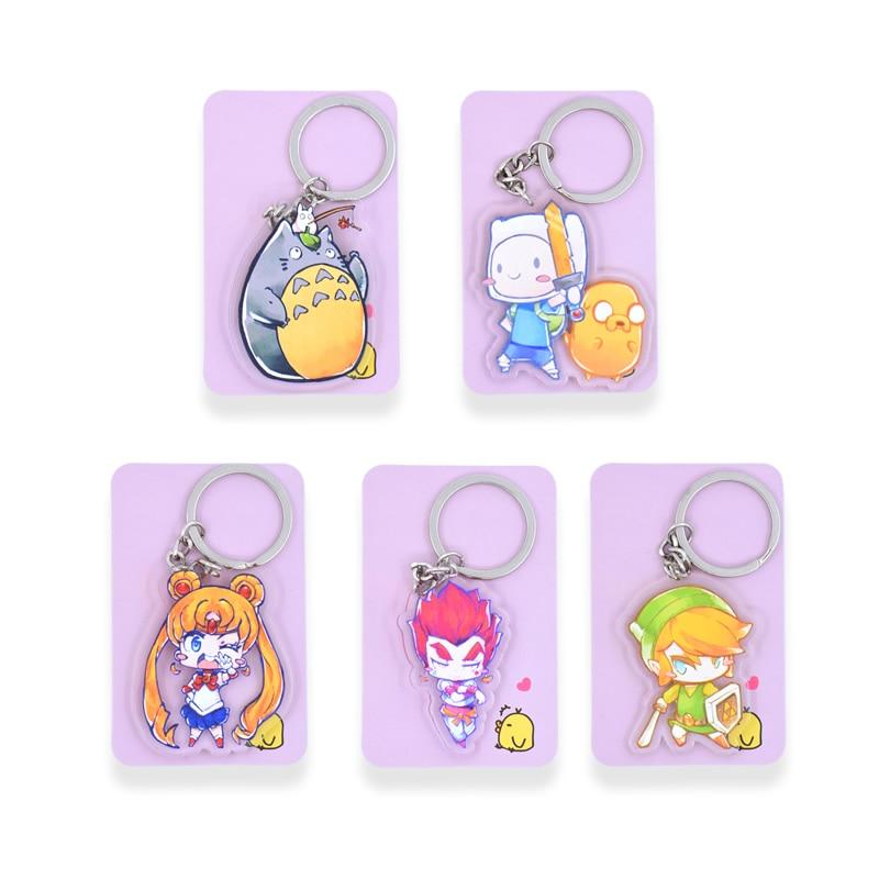 Totoro Sailor Moon Key Chians Chibi Adventure Time Cartoon Keyrings Double Sided Cute Anime Acrylic Keychain Accessories PCB01 2018 dragon ball gt keychain goku cell frieza double sided acrylic key chain pendant anime accessories cartoon key ring dbs1p