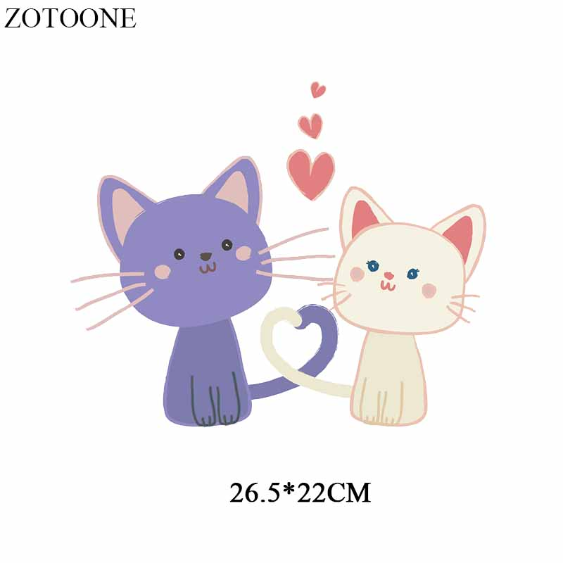 ZOTOONE Lovely Cat Patch Heat Transfer Vinyl Sticker for Girl Clothes DIY T shirt Dresses Heart Patches Applique Thermal Press in Patches from Home Garden