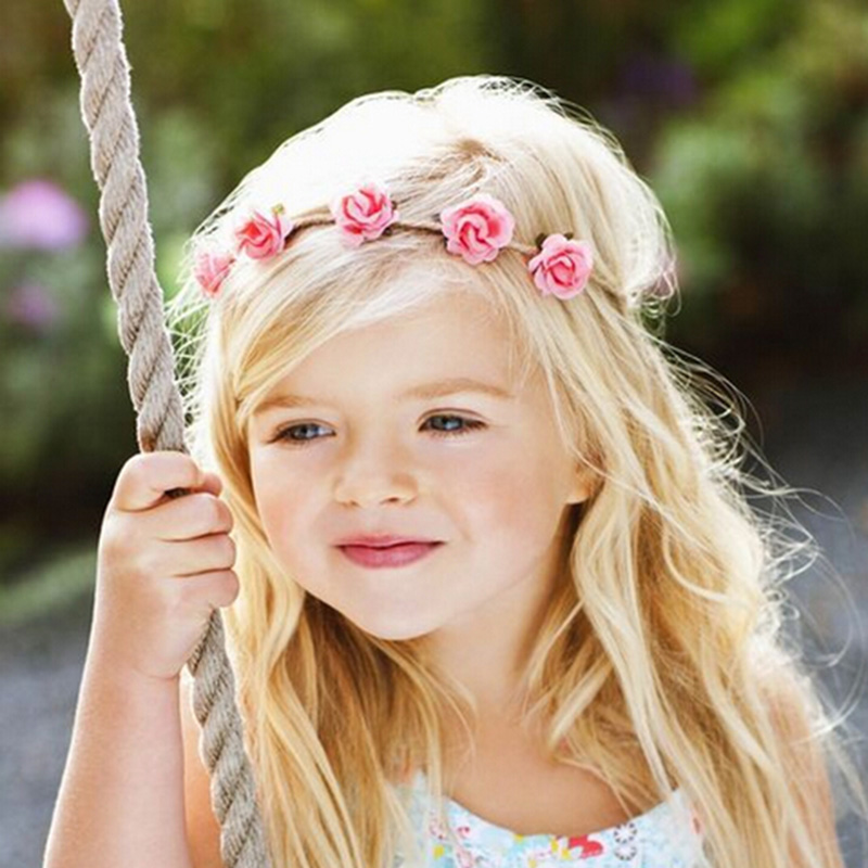 Newborn Flower Headband Mini Rose Flowers Headbands Summer Style Kids Headwear Hair Band accessories for Photography props