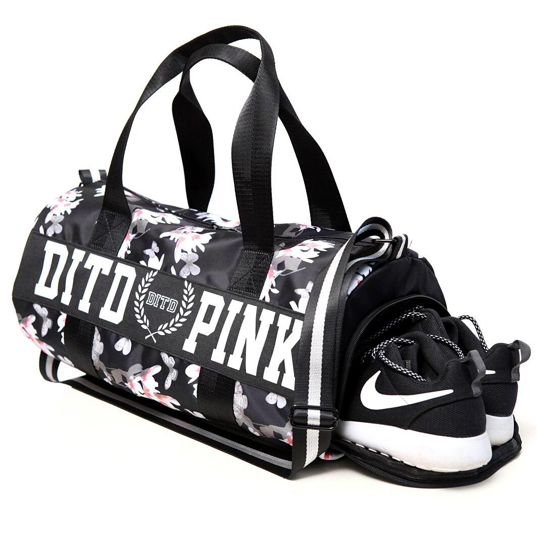 2018 Pink gray black Women Men Gym Bag Fitness Shoulder Gird Strip Travel  Bag 99364dca8a31
