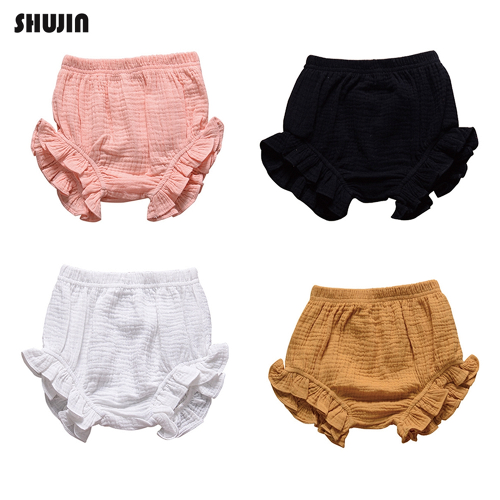 Shujin Summer New Baby Fashion Casual Large PP   Shorts   Infant Solid Cotton Bloomers Toddler Girls Bread Pants Playsuit Clothing