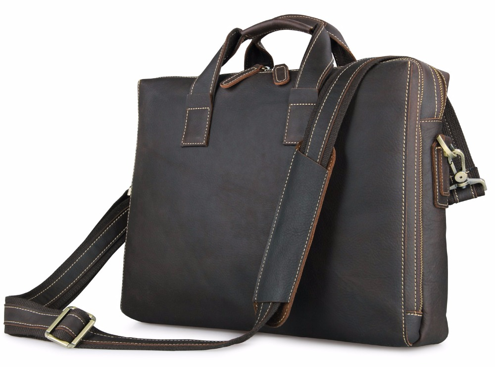 Augus Classic And Formal Business Office Handbag Imported Top Layer Cow Leather Shoulder Bag Trendy Laptop Bag For Men 7167R augus imported top layer leather messenger bag high quality crazy horse handbag brand new shoulder for men 7205r