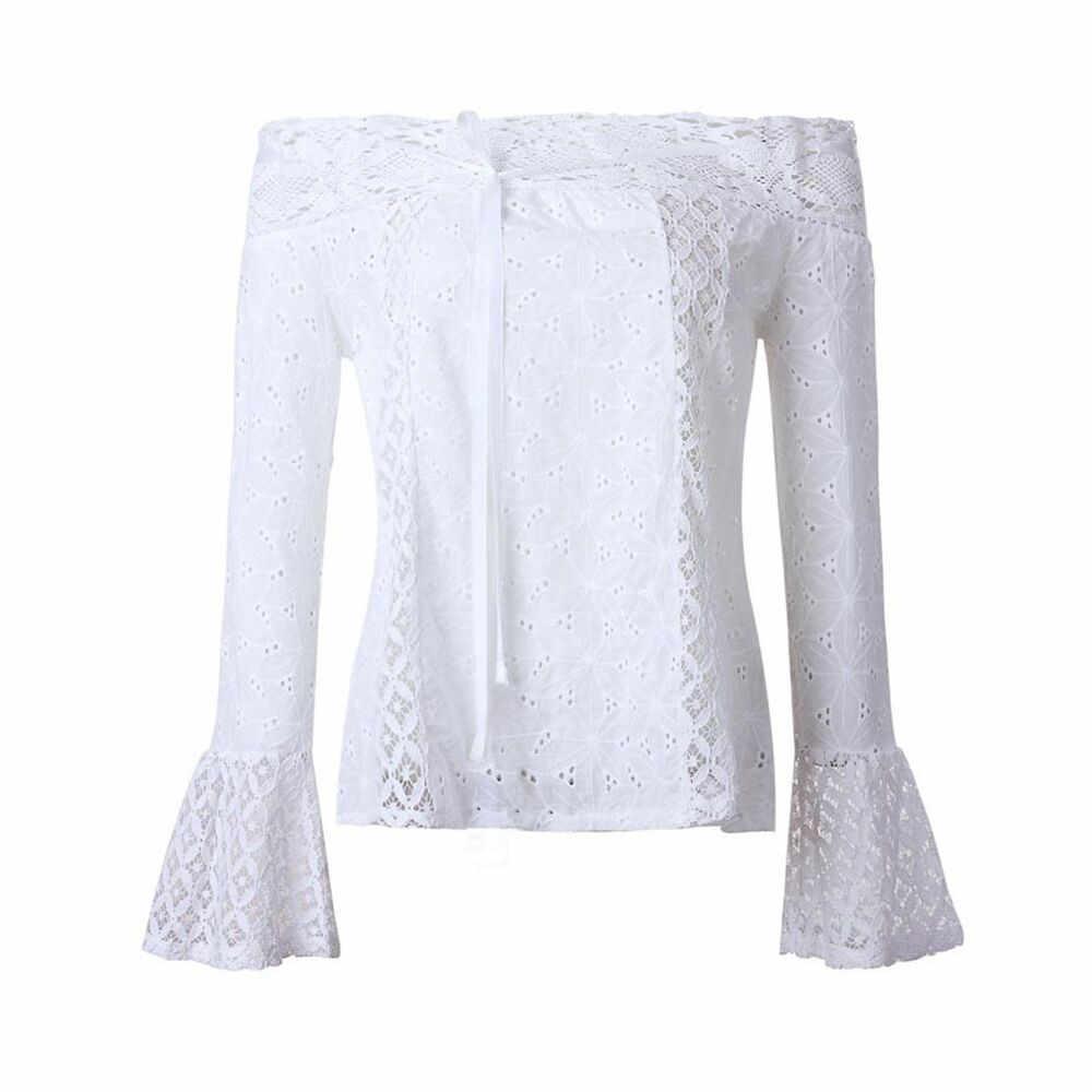 Seksi dantel bluz gömlek kadın uzun kollu çiçek beyaz bluzlar kadın üstleri şık moda bluz gömlek blusas femme artı boyutu
