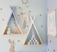 Nordic Style Wooden Tents Bunker Shelves Wall Decorations Storages Organizer For Kid's Room Photography Props Wooden Racks