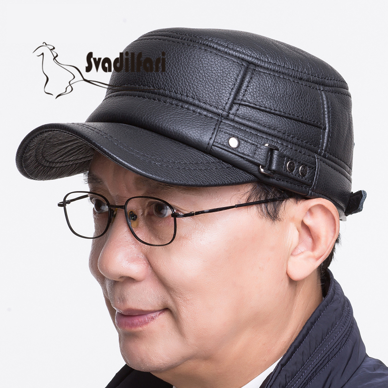The elderly man winter hat top leather old naive Pippin outdoor leisure pants ear peaked cap leather hat man winter leather flat hat cap octagonal cap hat female soldier peaked cap