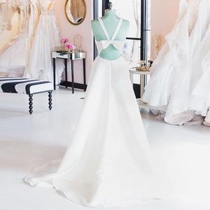 Image 3 - Cổ Chữ V Đơn Giản Áo Váy Cut Out Nơ Lưng Áo Bao Phủ Nút Trắng Ngà Gợi Cảm Bãi Biển Áo Cưới Đầm Vestido De noiva
