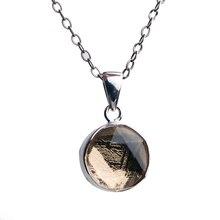 אמיתי טבעי גבעון ברזל מטאוריט Moldavite עלה זהב מצופה תליון 10mm 12mm מגן דוד נשים גברים שרשרת AAAAA