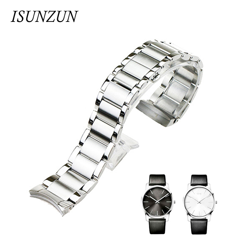 ФОТО ISUNZUN Men's Watchband For CK K2G211/K2G231 Special Steel Strip Watch Band Best Christmas Gift For Men 22mm/16mm Watch Strap
