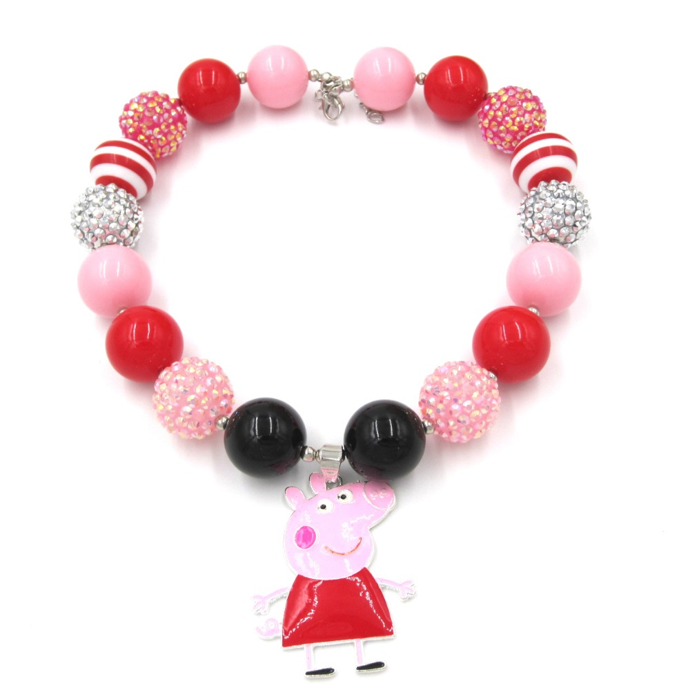 Lovely Toddler Girls Chunky Beads Necklaces Alloy Peppa Charm Chunky Bubblegum Necklace Jewelry Birthday Gift To Baby Kids
