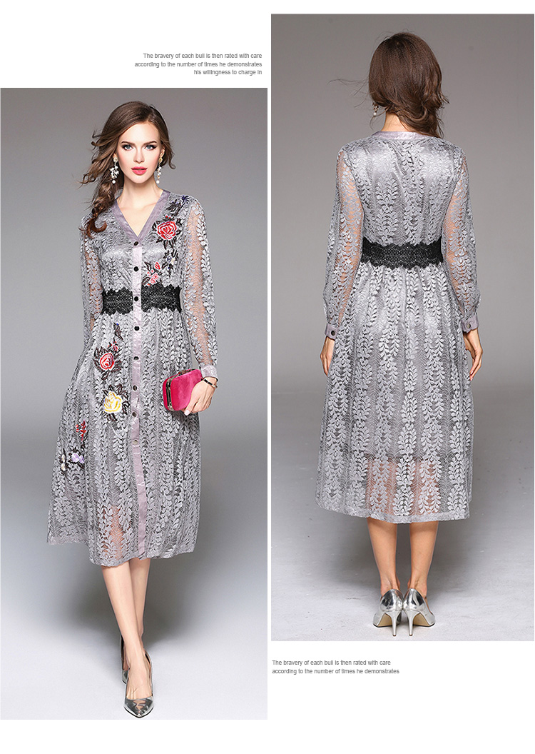 Sky Blue V-neck Floral Embroidered Lace Dress Autumn Dresses Women 2018 Vestido De Festa Hollow Out Christmas Dress K945180 15