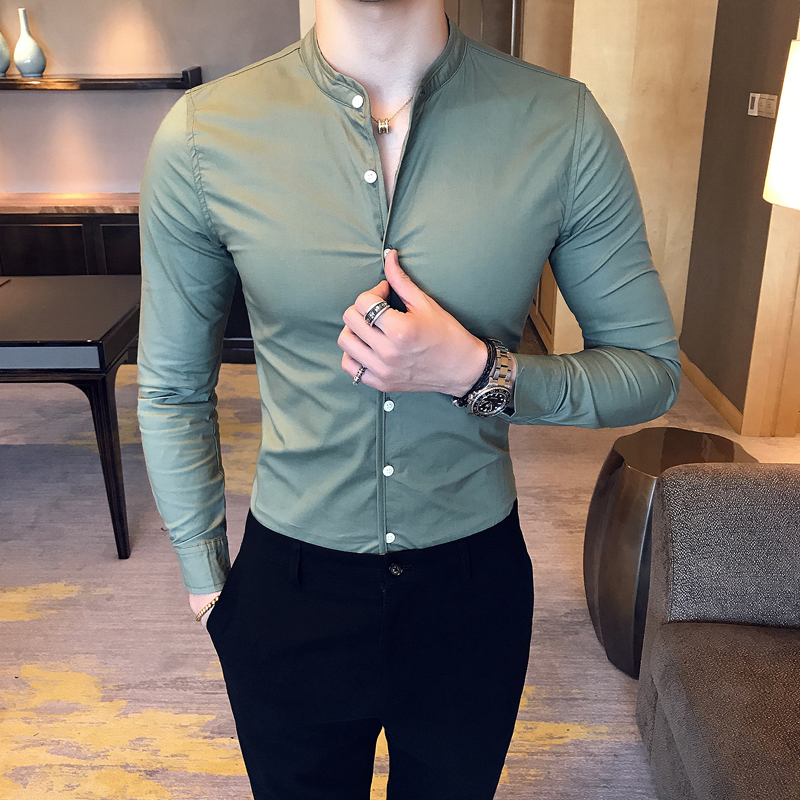 Brand Men's Shirt Fashion Boutique Cotton Solid Color Stand Collar Casual Business Long Sleeve Formal Shirts Slim Camisa