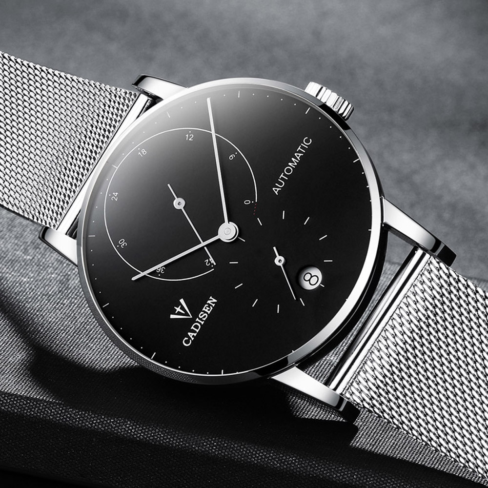 CADISEN Mens Watches Top Brand Luxury Automatic Date Men Casual Fashion Clock Waterproof Mechanical Stainless steel