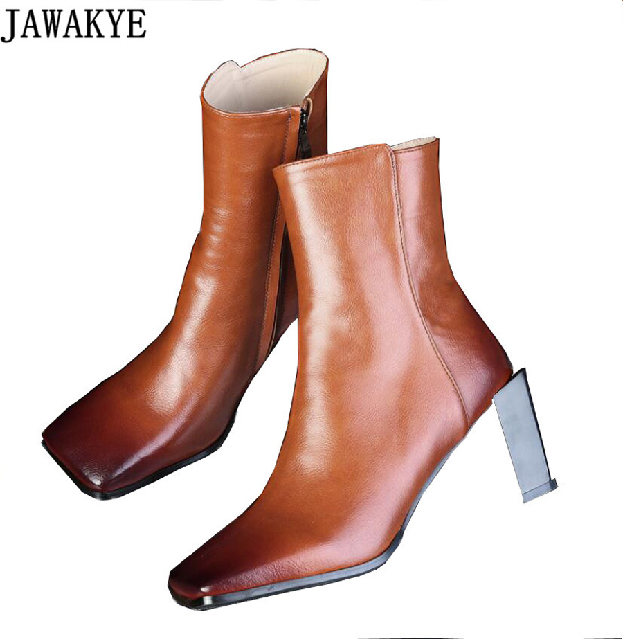 JAWAKYE Retro Fall winter Newest genuine leather Short Boots high heels square toe runway style Ankle Boots for women shoes frank buytendijk dealing with dilemmas where business analytics fall short
