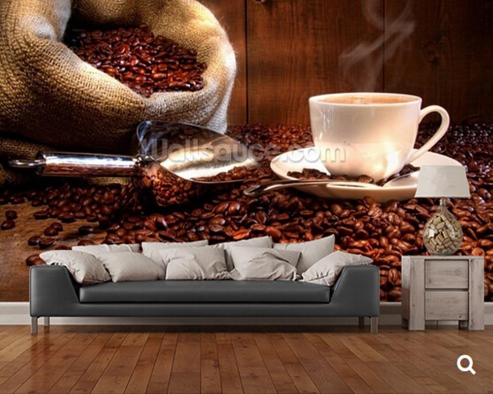 Silver Purple 激安 カスタム現代壁紙 コーヒー豆とコーヒー 3d写真