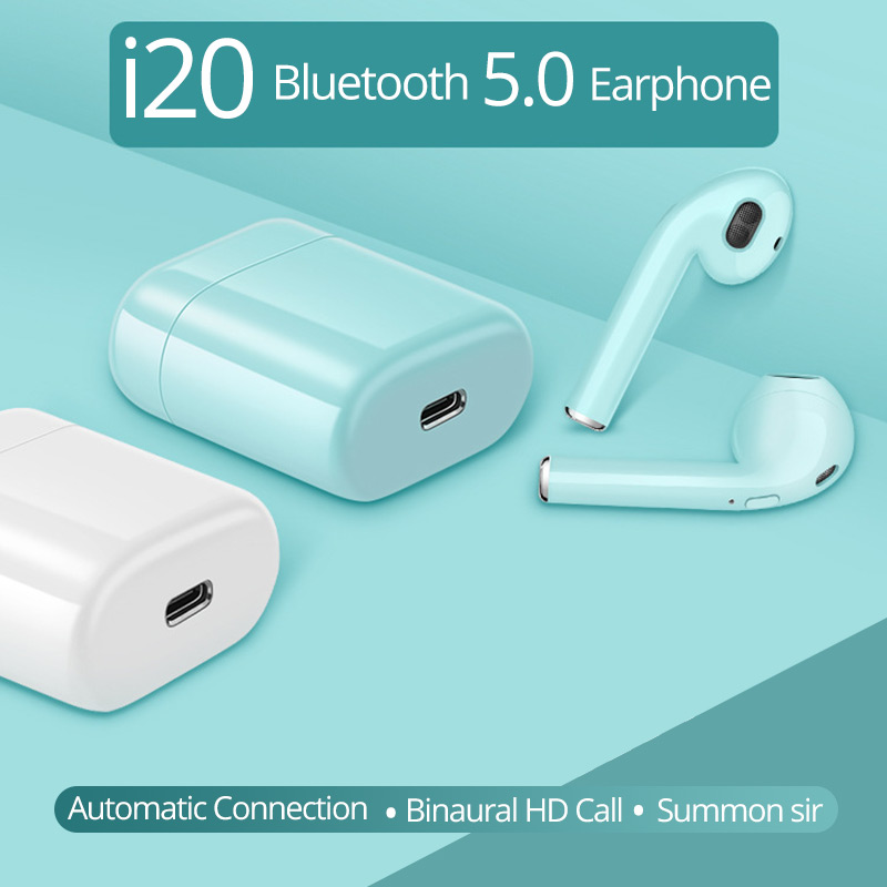 i20 TWS Bluetooth Earbuds Wireless headsets Earphones PK w1 chip not i30 i60 i12 tws 1:1 i10 i13 i14 i15 i16 i18 i11 i9s